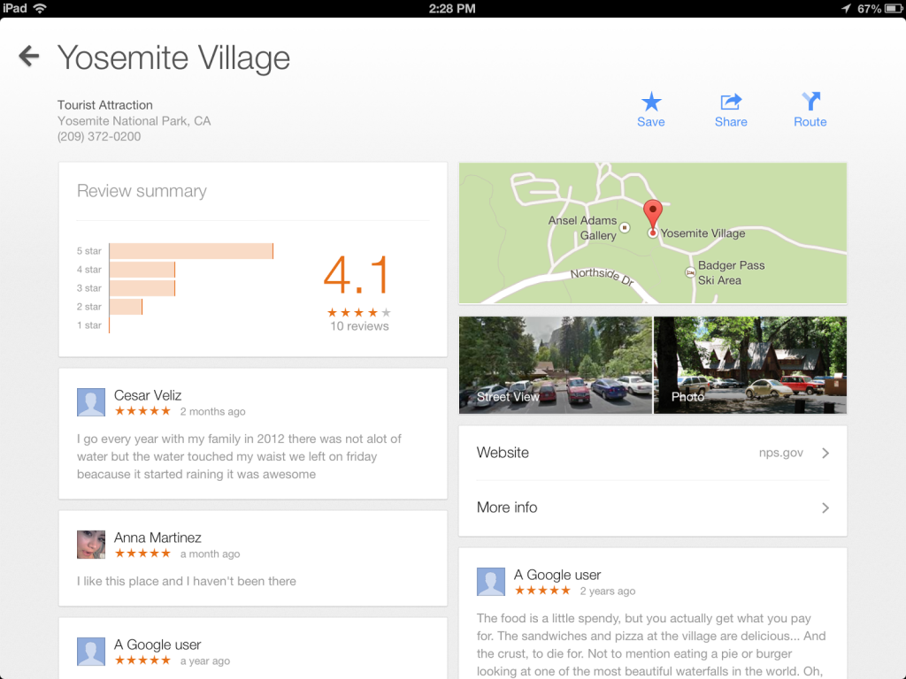 Google Maps on iPad - Description