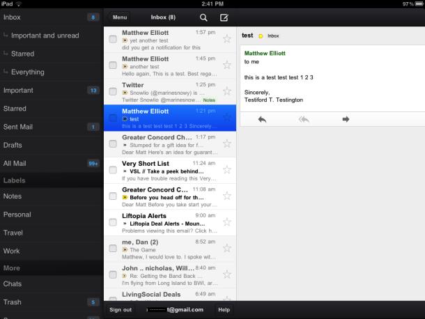 iPad Gmail