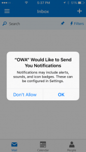 OWA App Notifications Prompt