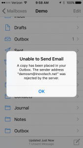 iPhone SMTP Error