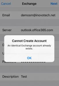 iPhone Exchange Error with Shared Mailbox