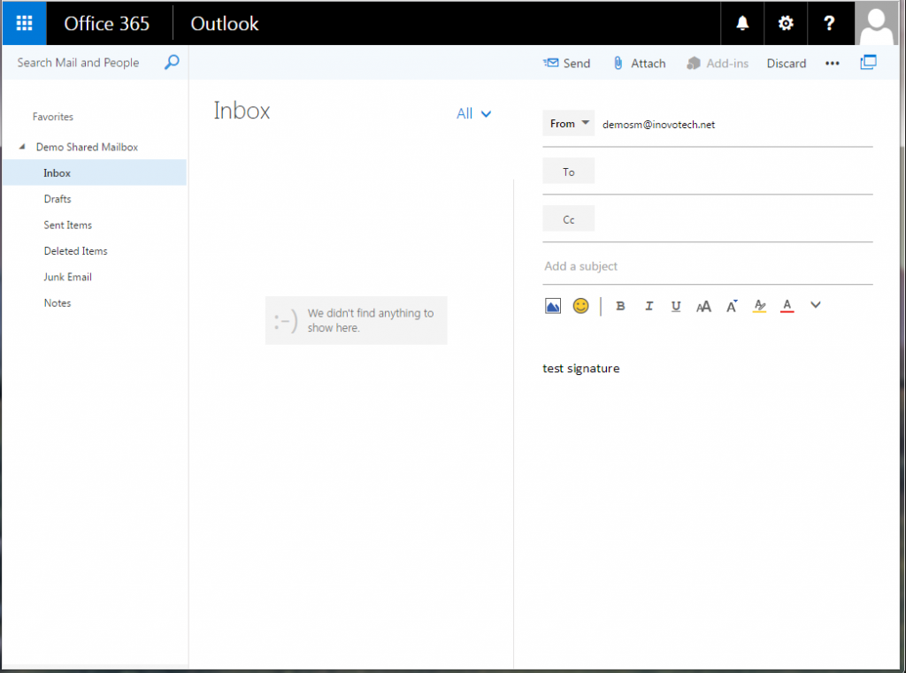 Office 365 Outlook Web Access (OWA) of Demo Shared Mailbox